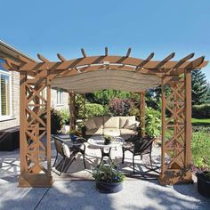The pergola kits are the easiest and quickest way to build a garden pergola. There are lots of do it yourself pergola kits available to you so that anyone could easily put them together to construct a new structure at their backyard. Diy Pergola, Pergola Decorations, Corner Pergola, Small Pergola, Pergola Attached To House, Pergola Swing, Metal Pergola, Deck With Pergola, Outdoor Pergola