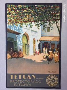 Coleccionismo de carteles: 8 CARTELES TURISMO PROTECTORADO ESPAÑOL MARRUECOS BERTUCHI DURA VALENCIA - Foto 3 - 71713745