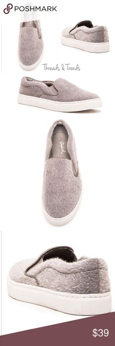 Soft Terry Slip On Sneaker Heather grey soft terry slip on sneaker. Featuring the trendy thick upper rubber sole. Show your style in comfort with these slip on sneakers. Great casual year round staple for any wardrobe. Color Heather grey Threads & Trends Shoes Sneakers
