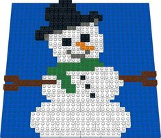A Christmas themed Snowman! He comes with an orange carrot nose, twig stick arms, and a top hat! Lego Christmas Ornaments, Christmas Charts, Christmas Snowman, Lego Projects, Projects For Kids, Christmas Activities, Christmas Themes, Pictures Of Bricks, Mosaic Design