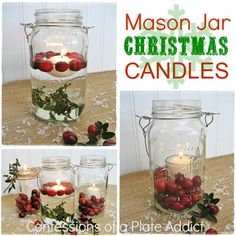 fun and easy christmas mason jar candles, christmas decorations, seasonal holiday d cor, A fun and easy and practically free way to add to your Christmas decor