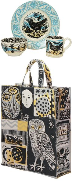 Mark Hearld - love the owl, flowers and colors of this bag