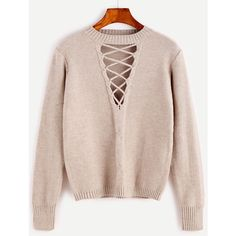 SheIn(sheinside) Coffee Cutout Lace Up Cable Knit Sweater (330 ZAR) ❤ liked on Polyvore featuring tops, sweaters, cable pullover, pullover sweaters, pink sweater, chunky cable knit sweater and cable-knit sweater