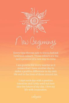 Affirmation - new beginnings by carlymarie law of attraction planner, positive mind, positive vibes Positive Schwingungen, Positive Thoughts, Positive Quotes, Gratitude Quotes, Mantra, Motto, Mind Body Soul, Positive Affirmations, Morning Affirmations