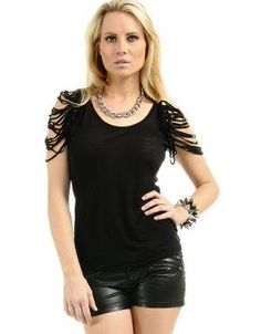 (CLICK IMAGE TWICE FOR DETAILS AND PRICING) Slashed Sleeve Tank Top Black. Wear it with shorts, skinny jeans or hi-low skirts.. See More Tops at http://www.ourgreatshop.com/Tops-C74.aspx