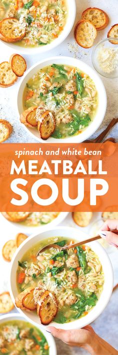 Spinach and White Bean Meatball Soup - My favorite cozy weeknight soup! Made so hearty with white beans, spinach, and the most tender chicken meatballs! Eliminate Orzo to be gluten free. Chicken Meatball Soup, Chicken Meatballs, Chicken Soup Recipes, Meatball Recipes, White Bean Soup, White Beans, Crockpot, Spinach Soup, Baby Spinach
