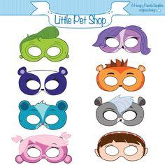 Littlest Pet Shop Inspired Printable Kids Birthday Party Masks