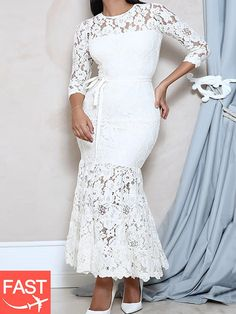 0d86c8388d4 Three-Quarter Sleeve Ankle-Length Round Neck Plain Mermaid Dresses (fast  shipping)
