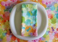Butterfly Cloth Napkins 4 in Pink Yellow by ItsHandmadebyArianne