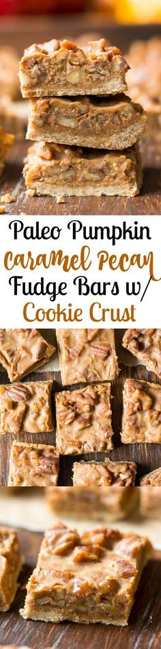 Paleo pumpkin caramel pecan fudge bars with cookie crust - this grain free, gluten free, Paleo dessert tastes decadent but is refined sugar free and made with good for you ingredients