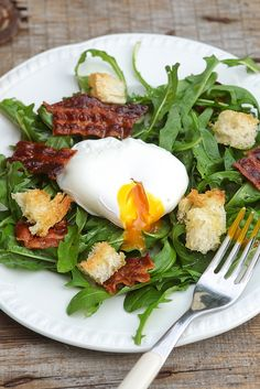 Salad with poched egg