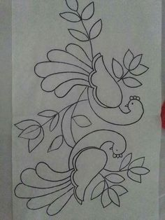 Hand Embroidery Flowers, Embroidery Motifs, Hand Embroidery Designs, Magam Work Designs, Doodle Art Designs, Saree Painting Designs, Fabric Paint Designs, Simple Rangoli Designs Images, Rangoli Designs Flower