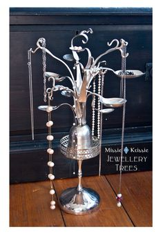 Recycled silverware jewellery trees