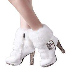 1836da76c1e Clearance Sale! Women High Heels Shoes Cinsanong Rhinestone Middle Tube  Martin Boots Leather Zipper Wedge