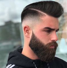 Clean & tight Full Bearded w/high skin fade & hard parted pompadour 🤩 Popular Mens Hairstyles, Cool Hairstyles For Men, Haircuts For Men, Popular Haircuts, Amazing Hairstyles, Beard Styles For Men, Hair And Beard Styles, Short Hair Cuts, Short Hair Styles