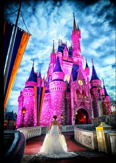 Disney World Castle Photo Shoot  Disney Wedding  Fairytale Hair and Makeup