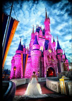 Disney World Castle Photo Shoot  Disney Wedding  Fairytale Hair and Makeup