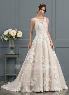 454320e1bf36 Ball-Gown Scoop Neck Court Train Tulle Wedding Dress With Beading Sequins  Tulle Wedding