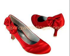 Concise Satin Upper Round Toe in Simple Design Bridal Wedding Shoes in Red, Quality Unique Wedding Shoes Satin Wedding Shoes, Unique Wedding Shoes, Wedding Pumps, Bridal Wedding Shoes, Wedding Shoes Heels, Red Wedding, Red Bridesmaids, Bridesmaid Shoes, High Heel Pumps