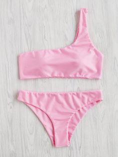 ¡Cómpralo ya!. One Shoulder Bikini Set. Pink Bikinis Sexy Vacation Push Up Polyester NO Swimwear. , bikini, bikini, biquini, conjuntosdebikinis, twopiece, bikini, bikini, bikini, bikini, bikinis. Bikini de mujer de SheIn.