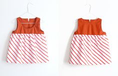 Maija Ukko candy stripe red and cocoa brown dress from Arty Baby $56. 100% one-off, handmade piece. www.artybaby.com.au
