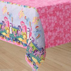 My Little Pony Party Paper Table Cover - Rectangle Disposable. My Little Pony party supplies New My Little Pony, My Little Pony Birthday Party, Birthday Table, 4th Birthday, Birthday Ideas, Discount Party Supplies, Plastic Table Covers, American Greetings, My Little Pony Friendship