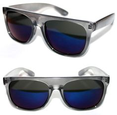 eb079f9132d4ab Men s Flat Top Sunglasses Impero Super Clear Blue Frame Blue mirror Lens  Sport  Stars  FlatTop