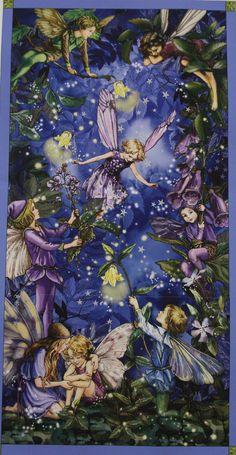 Large Night Fairies Cicely Mary Barker Flower Fairy  Panel. $7.50, via Etsy.