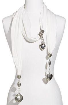 love  #scarf #jewelry #diy #fashion #jewelrymaking #diyjewelry #jewelryideas #scarfnecklace #diyscarfnecklace #beadedscarfnecklace #glimmerjam Diy Jewelry Necklace, Scarf Necklace, Fabric Necklace, Scarf Jewelry, Fabric Jewelry, Jewelery, Diy Fashion, Fashion Jewelry, How To Make Scarf