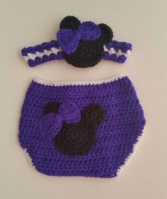 Gift Set Girl Mouse Diaper Cover & Headband Plum 6 Mos