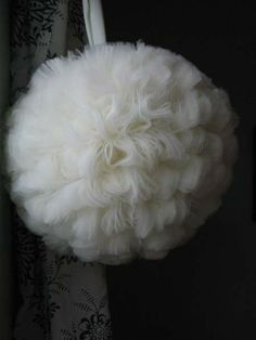 large tulle flower ball with instruction how to make it.