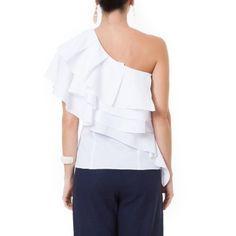 Blusa ombro só camadas Artsy Brasil - Branca - shoplixmix