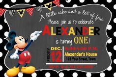 MICKEY MOUSE INVITATION Mickey Birthday Card Mickey Mouse