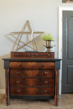 This dresser had some wear and tear on it, but no more! Click through to see the transformation using Country Chic Liquorice paint! For more, follow #fabflippincontest