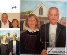 Custom oil portrait-Old couple