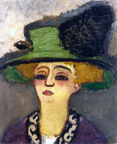 Woman with a Green Hat (c. 1905) by Kees Van Dongen (1877-1968), Dutch - one of the Fauves. He gained a reputation for his sensuous, at times garish, portraits. (wiki) - (bo fransson)