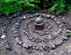 fairy spiral. I would like to do this/or   labyrinth. but maybe with a petite birdbath in the center.
