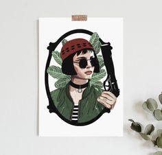 movie film Mathilda Leon the Professional Inspired print Natalie Portman Leon, Leon The Professional Mathilda, Professional Poster, Leon Matilda, Film Movie, Movies, Denim Art, Tattoo Project, Movie Poster Art