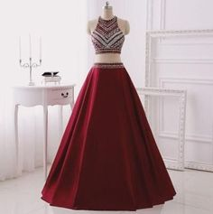 Two Piece Prom Dresses,Burgundy Evening Gowns,2 Pieces Party Dresses,Burgundy Evening Gowns,Glitter Formal Dress,Sparkly Evening Gowns For Teens