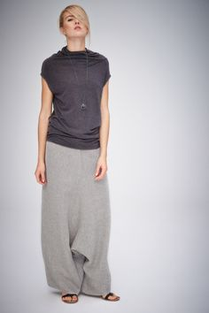 Grey-Beige Linen Pants/ Extravagant Drop Crotch Beige-Grey Pants/ Loose Linen…