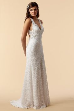 Cotton Crochet Lace gown with keyhole back by Watters