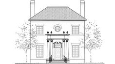 Adam - Federal House Plan with 2617 Square Feet and 3 Bedrooms from Dream Home Source   House Plan Code DHSW72703