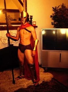 Spartan costume from the movie 300 made from cardboard