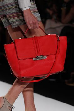 Rebecca Minkoff Leo Satchel in Hot Red Python Embossed Leather