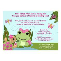 Sweet frog birthday invitation printable 5x7 digital file by girl frog birthday invitation pink pond turtle filmwisefo