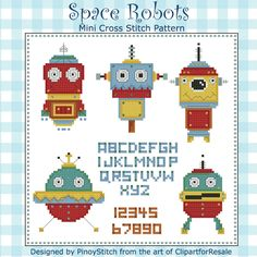 Space Robots Mini Sampler includes 5 funky robots plus full alphabet and numbers to create your own unique sampler.