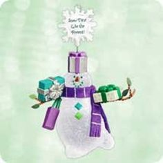 1 X 2003 Hallmark Ornament Snowman's Land Snow Time Like The Present
