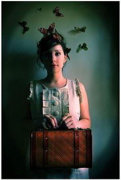 Girl with Suitcase Portrait, The Escape Artist, Fairytale ButterfliesPhoto, Rich Teal, Female Figure