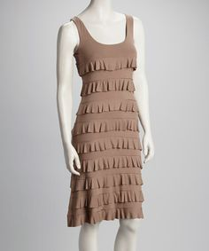 Take a look at this Light Brown Ruffle Dress by Tango Mango on #zulily today!
