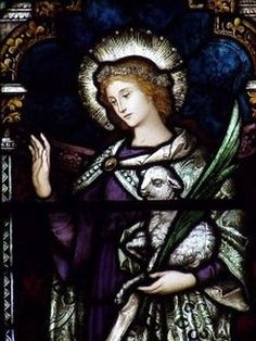 Saint Agnes of Rome pray for us and affianced couples, bodily purity, Children of Mary, crops and Girl Scouts. Catholic Saints, Patron Saints, Roman Catholic, Saint Joan Of Arc, St Joan, Religious Images, Religious Art, St Joseph Feast Day, Altar